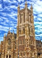 facade of St Francis Xavier's Cathedral at sky, australia, adelaide