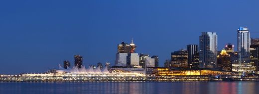 skyline of beautiful city at evening, canada, vancouver