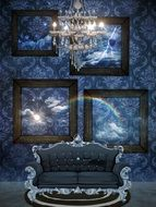 fantasy illustration with rainbow and thunderlight in interior