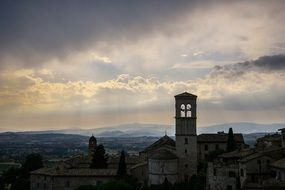 medieval church in old town, italy, tuscany, assisi