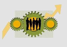 business team, people silhouettes at gears on grid, illustration