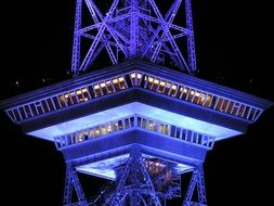 observation deck of radio tower at night, germany, berlin