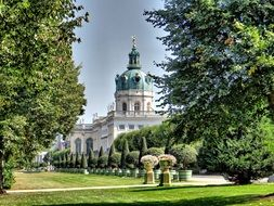 beautiful day view castle charlottenburg building garden