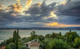 gorgeous sunset lake garda italy landscape