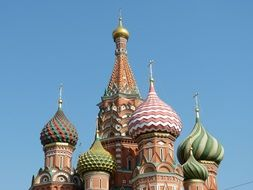 domes of saint basil's orthodox cathedral at sky, russia, orthodox