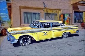 oldtimer yellow taxi car on street, digital art