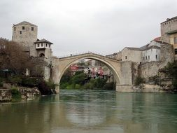 the old bridge on neretva river, bosnia and herzegovina, mostar