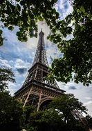 paris eiffel tower in foliage