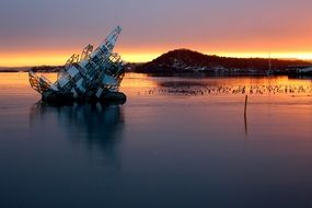 norway oslo glass structure oslofjord bay sunset