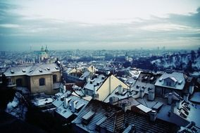 snowy rooftops of old city, czech, prague