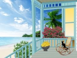 wooden terrace at beautiful tropical beach, illustration