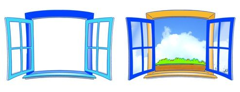 two colorful open windows, illustration