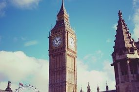 big ben clock tower at sky, uk, england, london