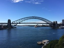 Harbour Bridge, arched steel construction above water, australia, sydney