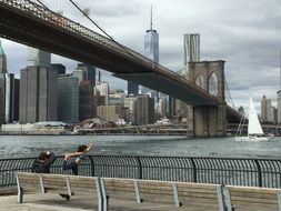 young people at brooklyn bridge, usa, manhattan, new york city