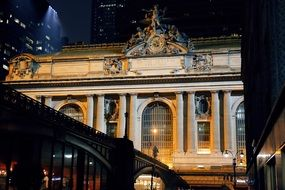 Old grand central buildings at night