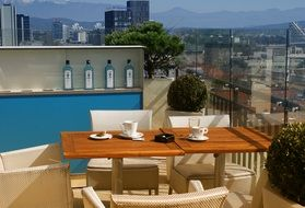 terrace in rooftop cafe in view of the city