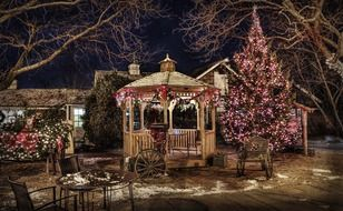 gazebo and christmas decorations in backyard