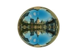 cityscape on mirroring ball, digital art