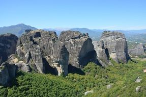 meteora rock formation in scenery landscape, greece