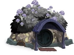 cartoon small hut with plants and mushrooms on roof