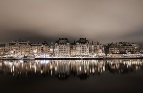 beautiful night view stockholm city water reflection