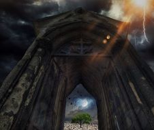 thunderstorm bolt above ruined church, armageddon, collage