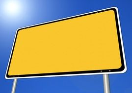 blank yellow town sign