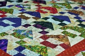 cozy homemade quilt, patchwork
