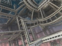 abstract grey scaffold construction, 3d render