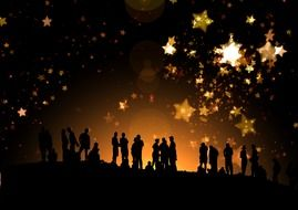 golden stars at night sky above people silhouettes, digital art