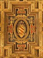 golden ceiling ornament in santa maria church, italy, rome
