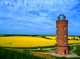 lighthouse tower yellow sky