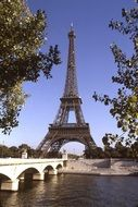 eiffel tower among trees, france, paris