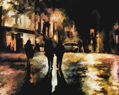 people silhouettes on street at night, colorful digital painting