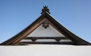 temple roof of Japanese pagoda in snow