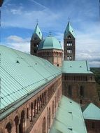 roof view of Imperial Cathedral Basilica of the Assumption and St Stephen, germany, speyer
