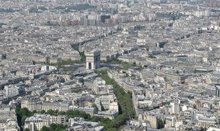 aerial view of arc de triomphe in cityscape, france, paris