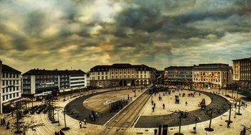 center of Kassel in cloudy wheather