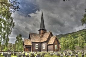 Church and grave monuments in Norway are depicted in the picture