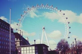 the london eye ferris wheel at sunny day, uk, england