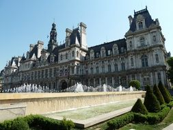 fountain at hotel de ville, town hall, france, paris