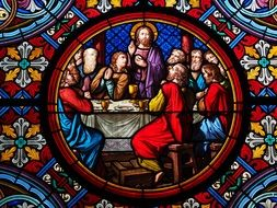 color glass window last supper basel