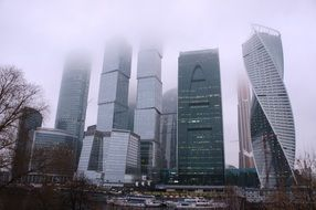 Evolution Tower, twisted skyscraper in city, russia, moscow