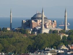 Mosque with Bosphorus sea view Istanbul Turkey