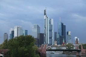 skyline of business district at clouds, germany, frankfurt, mainhattan