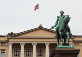 Statue of King Karl Johan XIV at royal castle, Norway, Oslo