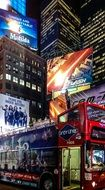 double decker bus on time square at night, usa, manhattan, new york city