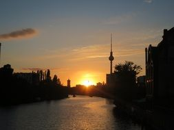 berlin germany sunset dusk dark