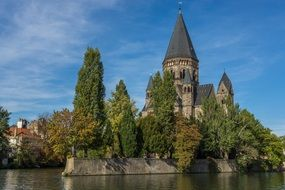 Old church by the lake in metz